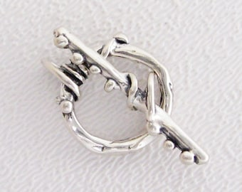 ONE Sterling Silver Toggle Clasp - Wrapped and Dotted