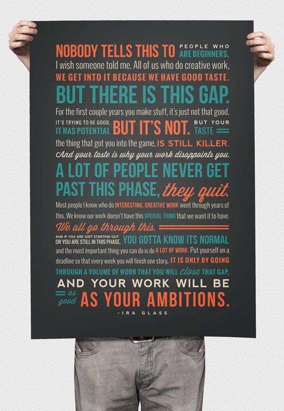 "18""x24"" Ira Glass Quote On Creativity Print"