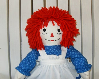 Mini Raggedy Ann Doll 15 inches tall Traditional Personalized Handmade in the USA