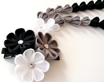 Kanzashi Fabric Flowers hair clip with falls.  Black, white and grey.