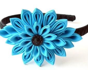 Turquoise Kanzashi Fabric Flower headband.