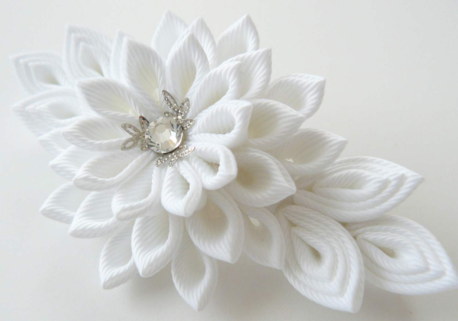 Tsumami Kanzashi Wedding Fabric Flower Hair Comb Wedding
