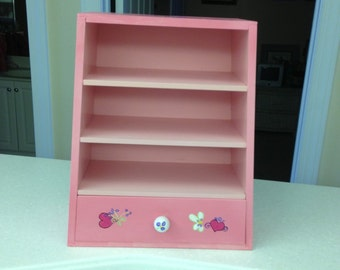 Bright Pink Cabinet for your Favorite Girl, with One Drawer and 3 Shelves, Decorated with Fairies, Butterflies, Hearts and Flowers