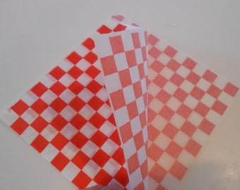 OVER STOCK SALE / Red And White Checkered Food Bags / Pretzel Bag / Hamburger Bag / 50 Sandwich Bags / Party Food Bags / Diy Party Bags