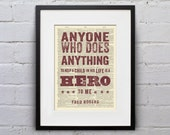 Anyone Who Does Anything To Help a Child Is a Hero / Mr. Rogers  - Inspirational Quote Dictionary Page Print - DPQU006