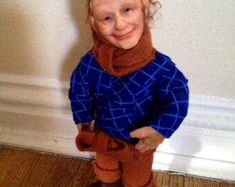 Fairy William - The Motorway Fairy ooak art doll polymer clay sculpted Irish leprechaun Galway gnome Ireland