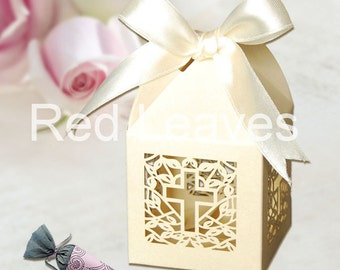 120pcs cross favor boxes with ribbon