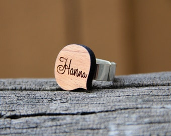 Personalized Wood Name Ring - Word Bubble