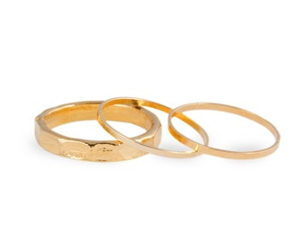 3 Above the Knuckle Rings - Z Gold Combo - set of 3 stack midi rings