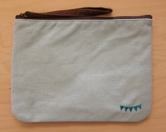 Natural Canvas Pouch Clutch/ Pencil Pouch Clutch/ Cosmetic Bag,  Light Blue and Yellow