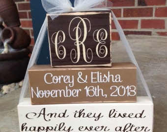 3 Tier Personalized monogrammed wedding/anniversary wood block stacker set wedding home decor anniversary gift