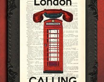 British phone booth art print, London print, london calling mixed media