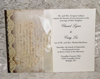 Lace Wedding Invitations 2, French Market Elegant, Shabby Chic, Vintage Inspired, Haute Couture Invitations
