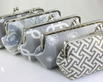 Grey Wedding Clutches / Bridesmaids Clutches / Choose your Patterns - Set of 8