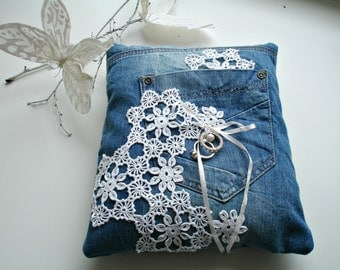 Ecofriendly  Ring Pillow, Ring Bearer Pillow  With Recycled Denim and Vintage Handcrocheted  Doilies and Pearl