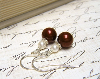"Burgundy and White Pearl Earrings, Burgundy Earrings, Bridesmaids Gifts, Bridal Party Gifts - ""Present Moment Burgundy"""