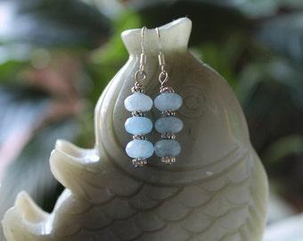Aquamrine Earrings, sterling silver hook