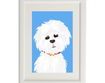 maltese print illustration 8x10