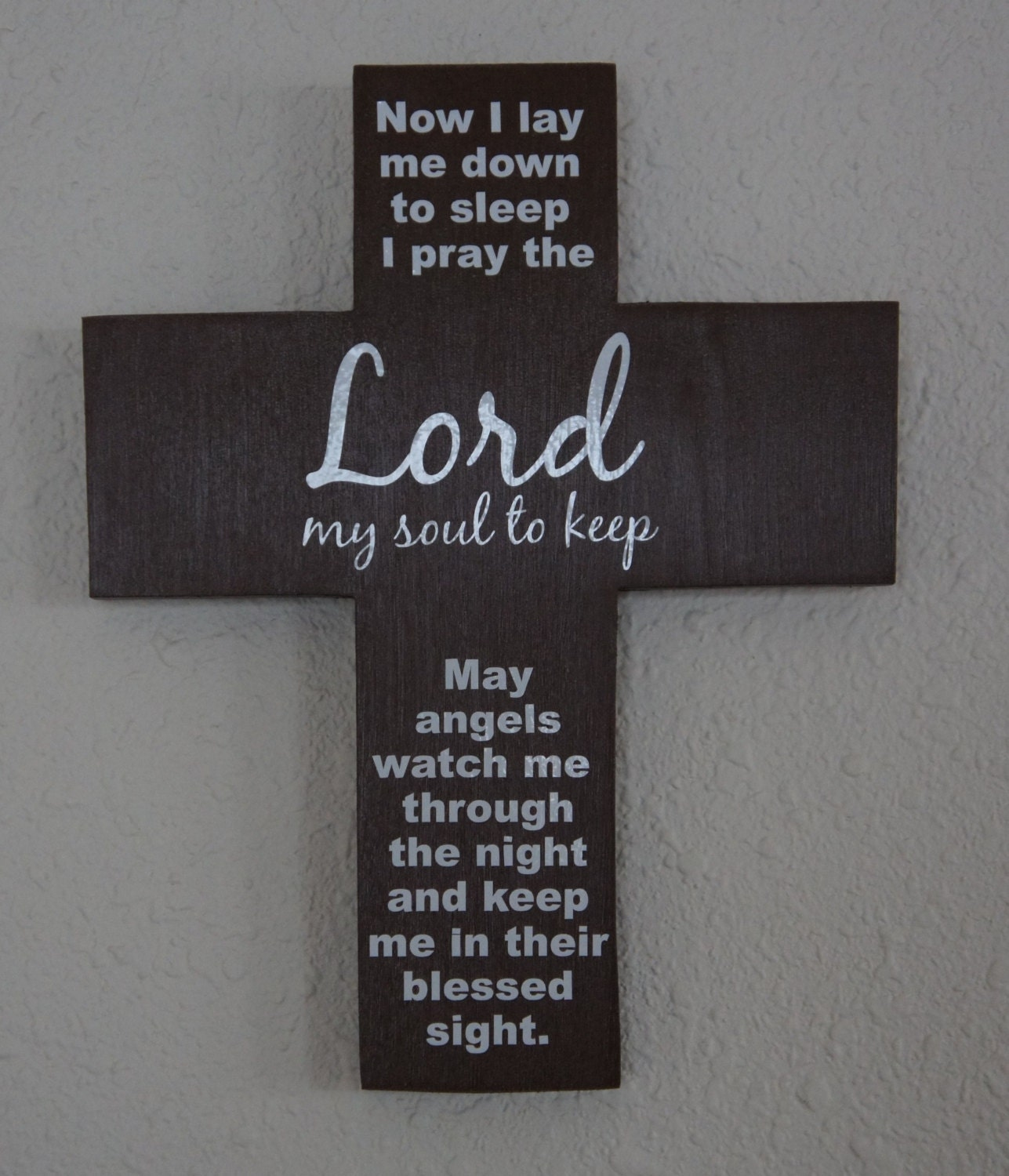 Now i lay me down to sleep wall decal - Bed Time Prayer Wall Cross Child S Prayer Now I Lay Me Down To Sleep Lord Me Soul To Keep In Brown And White Easter Baptism Gift