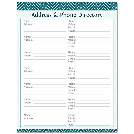 phonebook template - address phone directory fillable printable pdf by