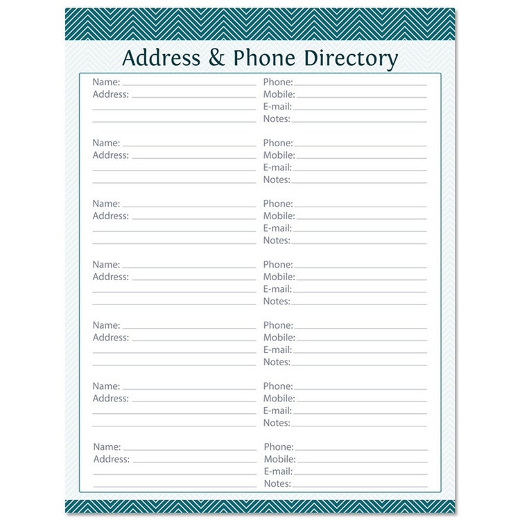 Address phone directory fillable printable pdf by for Telephone address book template
