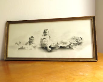 Antique 1922 Baby Picture, Old Baby Photo Photograph, Vintage Nursery Wall Hanging Decor