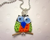 Polka Dot Funky Owl Lampwork Glass Pendant Necklace Sterling Silver Ball Chain
