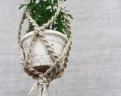Macrame plant hanger Organic eco friendly home decor  Primitives country decor Vertical garden Rustic Boho Bohemian hanging planter
