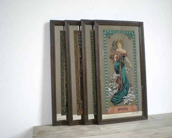 ANTIQUE mirror Art Deco Art nouveau wall decor hanging