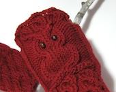 Owl fingerless gloves Cherry red owl mittens Owl Wrist warmers Hand knit owl gloves