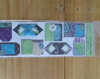 Diecut pockets by Linda Maron  Mod Pockets and Tags Purples, greens, blues