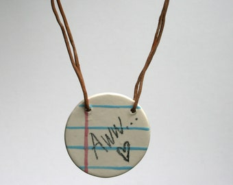 Aww Word Note Ceramic Necklace