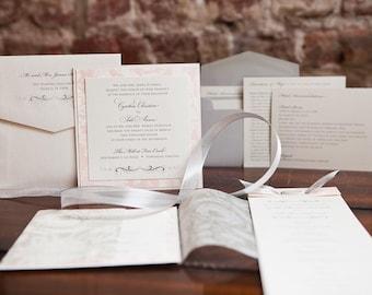Romantic and English Garden Square Wedding Invitation with Vellum Wrap (5x5)