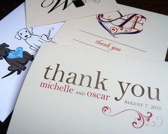 4x5 fold-over thank you card with printed envelope