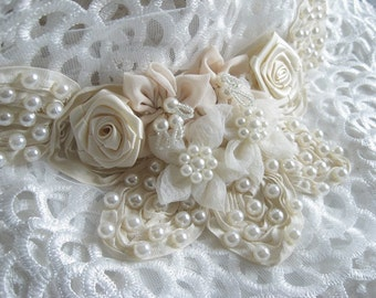 Ivory Wedding Applique Pearl Beading Wedding Gown Applique