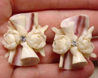 Vintage Flower Shell Earrings with Clear Rhinestone Accent (retro screw back 50s 60s 40s spiral swirl beach pretty unique)