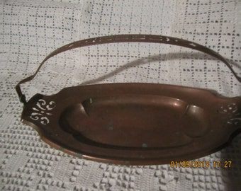 Oval Copper Dish or Tray,Pierced Design,Handle Pierced Also,Nice