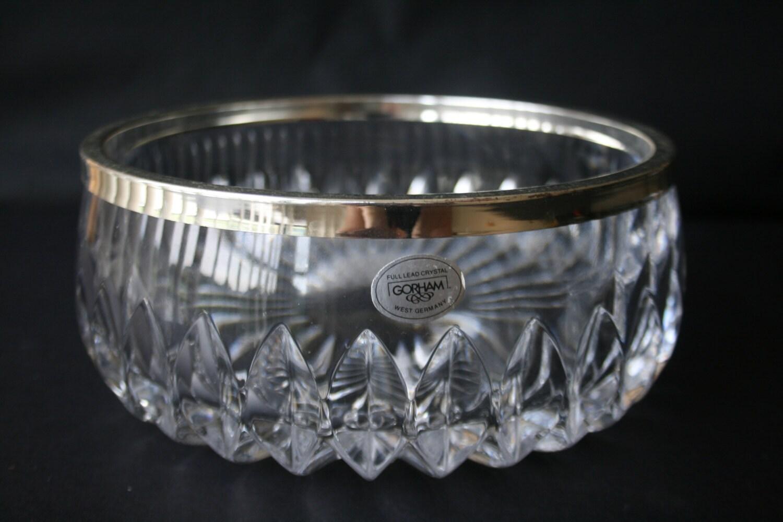 Vintage Gorham Lead Crystal Glass Bowl With Silverplate Rim