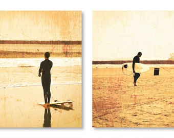"""Surf Photography, 8x8 Set of 2 Prints, Beach Photography, Vintage, Distressed, California Photography, Ocean, Surfer, """"Vintage Surf"""""""