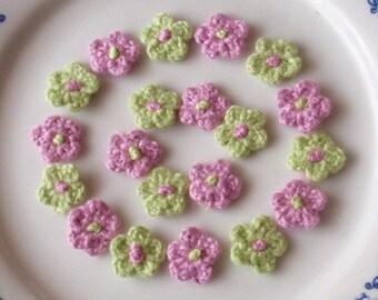20 Mini Crochet  Flowers In Green, Lt Orchid YH-022-16