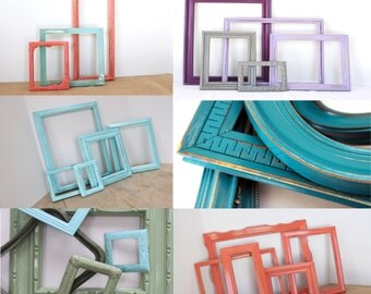 Custom Designed Gallery Wall Frames set of 12 You Pick Colors, Wedding Collection, Baby Nursery Frame