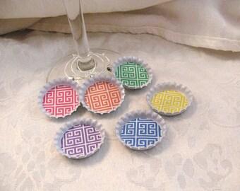 Greek Key Pattern Bottle Cap Wine Charm - Bright spring colors - set of 8