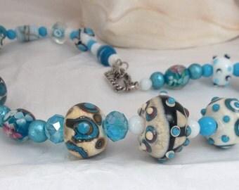 Got the Blues Lampwork Necklace
