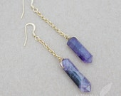 "Uneven Natural Amethyst Healing Stones, 16k Gold Plate, Stone Crystal Point, Dangle, 2.5"" - 3.5"" Earrings"