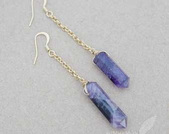 """NATURAL Genuine Amethyst Healing Stones, Crystal Point Moonchild Boho Gift for her Everyday Jewels, Dangle 2.5"""" - 3.5"""" Earrings"""