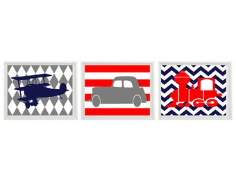 Transportation Nursery Art Print Set   prints - Car Plane Airplane Train - Red Navy Gray Chevro Stripes - Wall Art Home Decor
