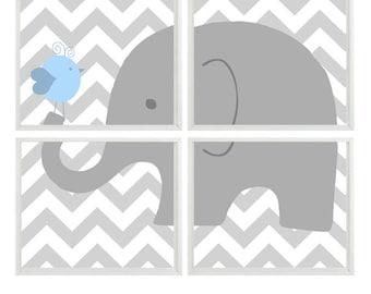 Elephant Nursery Art, Light Blue Gray Chevron, Baby Boy Nursery Art, Boy Wall Art, Elephant Bird Print, Gray Chevron Decor, Wall Art,
