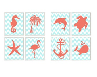 Beach Nautical Art Prints - Aqua Coral - CHOOSE  prints - Seahorse Palm Tree Anchor Flamingo Whale Wall Art Home Decor Set