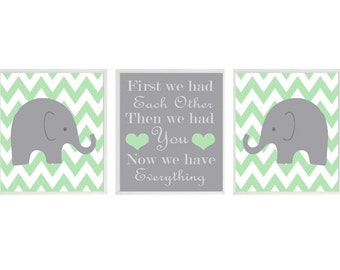 Elephant Nursery Art Print Set  - Chevron Green Gray Decor - First We Had Each Other Quote - Modern Neutral Baby Room - Wall Art Home Decor