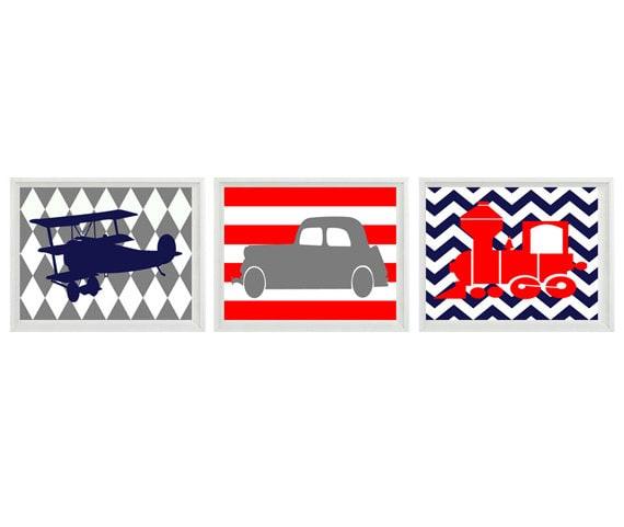 Transportation Nursery Art Print Set   prints - Car Plane Airplane Train - Red Navy Gray Chevro Stripes - Wall Art Home Decor